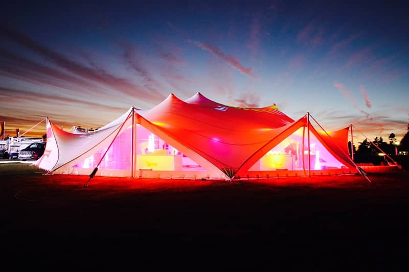 Stretch tent with walls