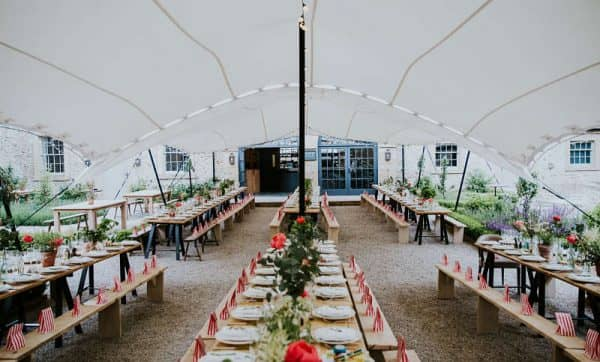 Courtyard wedding marquee