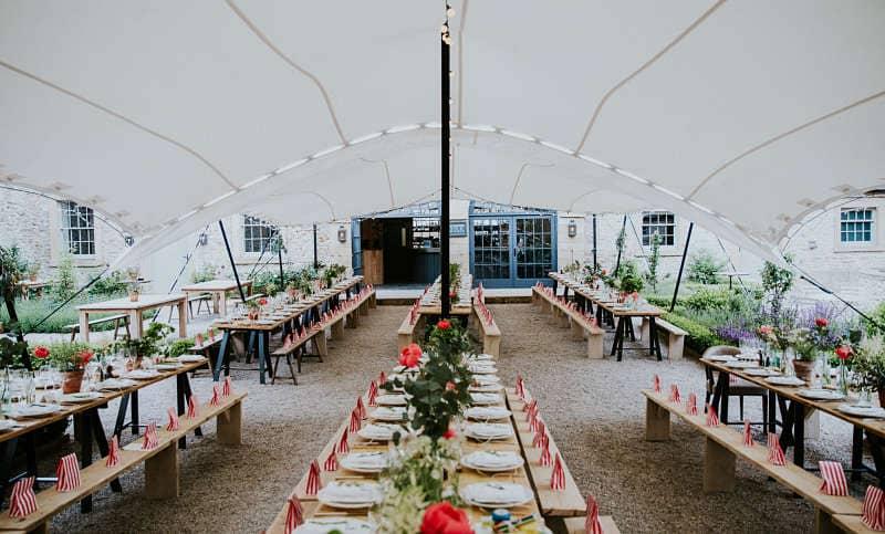 Courtyard wedding marquee