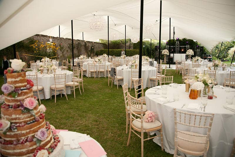 Marquee over garden wall