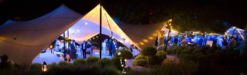 Stretch tent in garden