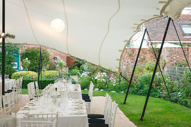 Marquee wedding at home